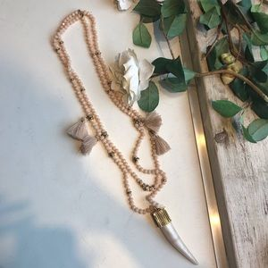 India Hicks Beaded Tassel Horn Pendant Necklace